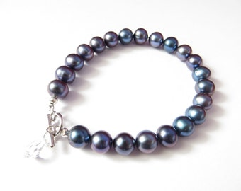 Peacock Freshwater Pearl Bracelet, Tahitian Colored Pearl Bracelet, Purple And Blue Pearl Bracelet, Genuine Pearl
