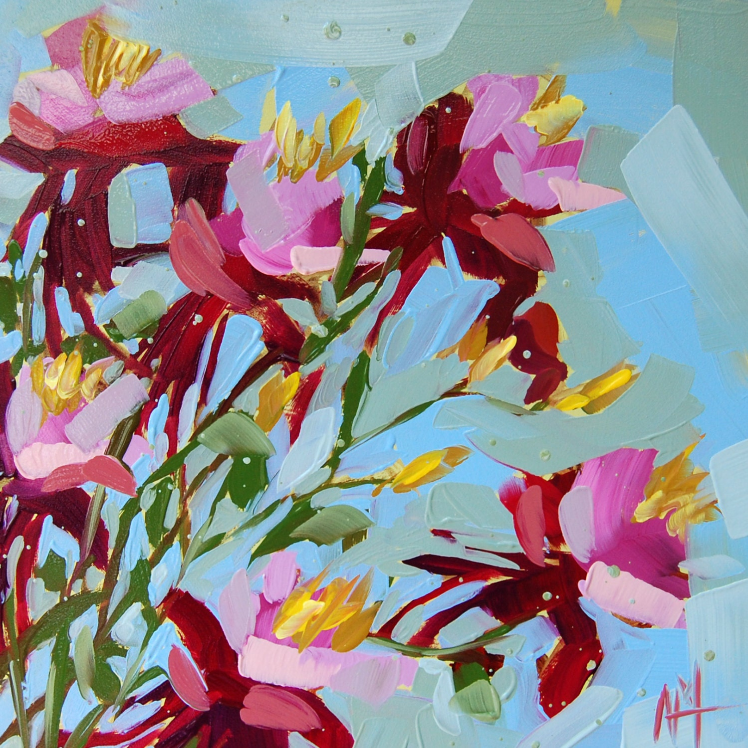 Columbine Floral And Gifts: Columbine Flowers No. 6 Original Floral Oil Painting By Angela