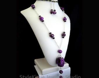 Purple Lucky Jasper, Purple Jade, Long Y Chain Station Necklace Set, Dangle Earrings, 925 Sterling Silver, Carved Stone, Gemstone, Jewelry
