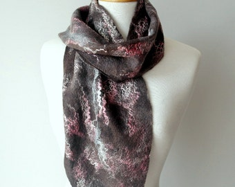 Pure Wool Felt Scarf - Pink and Gray - ON SALE