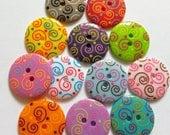 15pcs Cute Swirl Printed Retro Button Size 23 mm Mix color