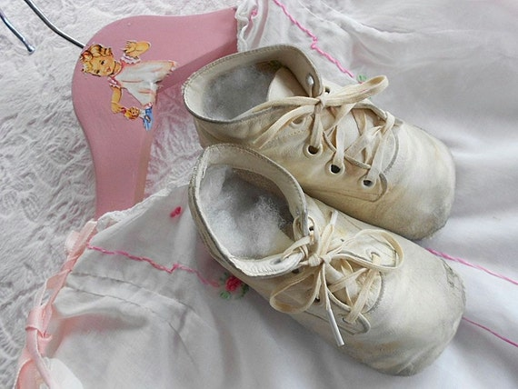 vintage mrs day ideal baby shoes infant white by