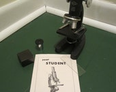 Vintage ATCO 1940s Student Microscope w Booklet and Accessories - Free Shipping