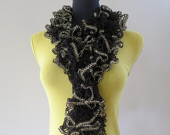 FREE US SHIPPING - Black Golden Lacy Ruffled Scarflette Lariat Collar Skinny Scarf