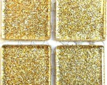 3/4 in. Light Gold Glitter Metallic Glass Mosaic Tiles//Mosaic Supplies//Mosaic//Crafts