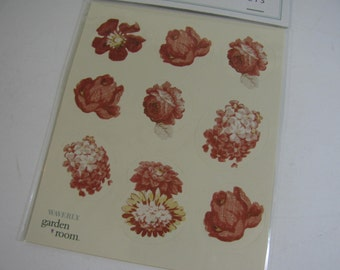 "New in Package 36 Vintage Rose Waverly ""Garden Room"" Stickers / Seals Scrapbooking Craft Cards Tags"