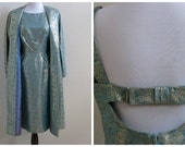Vintage 1960's seafoam green matching dress and jacket with gold floral brocade detail / sixties
