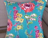 "Home Decor Turquoise Floral Pillow Cover 15"" square"