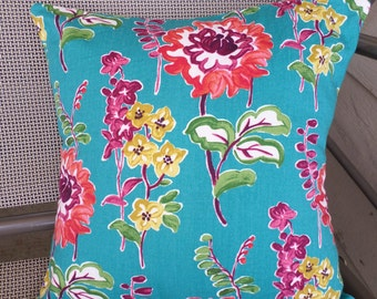 """Home Decor Turquoise Floral Pillow Cover 15"""" square"""
