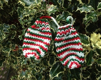 Knitted Baby Mittens Christmas Colors