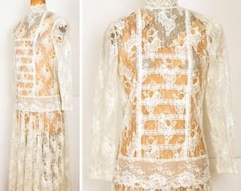 Vintage 1980s Downton Abbey Flapper DROPWAIST Lace Wedding Dress S/M