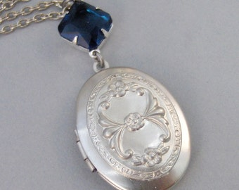 Princess Sapphire,Sapphire Locket,Locket,Antique Locket,Silver Locket,Sapphire,Blue,Navy,Birthstone. Handmade jewelry by Valleygirldesigns.