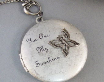 Sunshine Butterfly,Locket,Silver Locket,Butterfly,Antique Locket,Antique,Woodland,Love You,Fly,Wing. Handmade jewelry by valleygirldesigns.