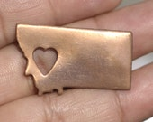 Nickel Silver Montana State Medium with Heart Blanks Cutout for Enameling Metalworking Stamping Texturing Blank