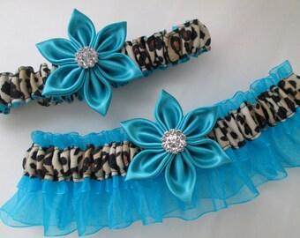 Turquoise Blue WEDDING / PROM Garter Set, Cheetah / Leopard Garter / Animal Print, Teal Blue Garters, Something Blue