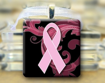 Breast Cancer Pendant necklace -Pink Black  - #627