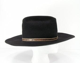 beaver 5 X cowboy hat mens size 7 black beaver hats since 1860 western 5X felt western
