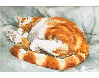 Sleeping Eddie Ginger Cat Watercolour Signed A4 Print (11.75 x 8.25 inches)