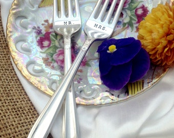 Hand Stamped Forks Mr. Mrs. Wedding Cake Tasting Forks by Blithe Vintage