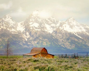 Moulton Barn Jackson Hole Wyoming Mormon Row homestead Grand Tetons bright mountains dramatic historic 8x10 country rustic John Moulton barn