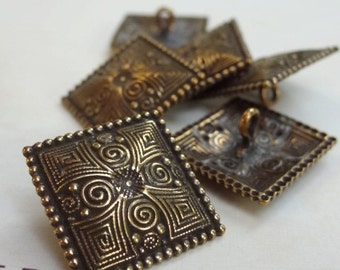 "6 Antique Brass Square Buttons. Woodland Fairy Buttons. Metal. Gypsy. Dotted. Unique 1"". 21A"