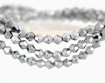 115pcs Crystal  BiCone Faceted 4mm Glass Beads Silver -(LZ04-31)