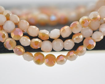 """Coin Crystal Glass Faceted Beads 6mm White Orange - (TS62-8)/ 19"""" strand"""