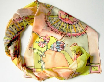 Silk scarf hand painted on ponge silk - woman scarf of multicolored flowers ornament - luxury silk scarves collection