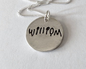 A Single Name in Your Actual Loved Ones Writing (or your own) Silver Pendant Made to Order