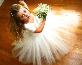 White unlined Flower Girl tulle skirt tutu.  Elegant portrait and classic look for weddings and little princesses.