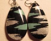 Navy blue ikat earring