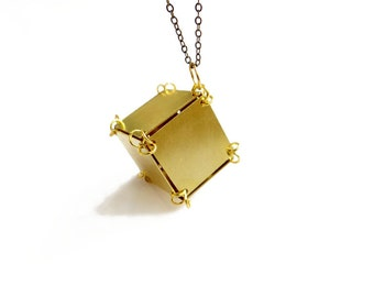Cube Necklace, Gold Cube Necklace, Mens Necklace, Geometric Unisex Jewelry, Industrial Necklace