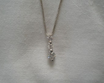 Vintage Silver Plated Triple Rhinestone Bar Pendant Necklace