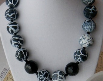 Chunky Black Necklace, Agate and Onyx Necklace, Gemstone Necklace, Statement, Bold, Womens Fashion Jewelry