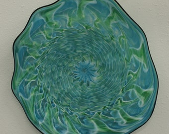 Beautiful Hand Blown Glass Art  Wall Platter Bowl Aqua/Greenn 4658  ONEIL