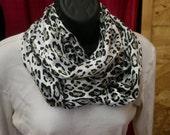 Baby Cheetah Print Soft Satin Infinity Scarf - Skin Print - Black Silver Gray White - Washable - Fabric - Professional - Dressy - Classic