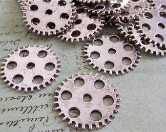 Large Gears - Antique Silver flat round seven hole gear, cog, - 6 in a lot