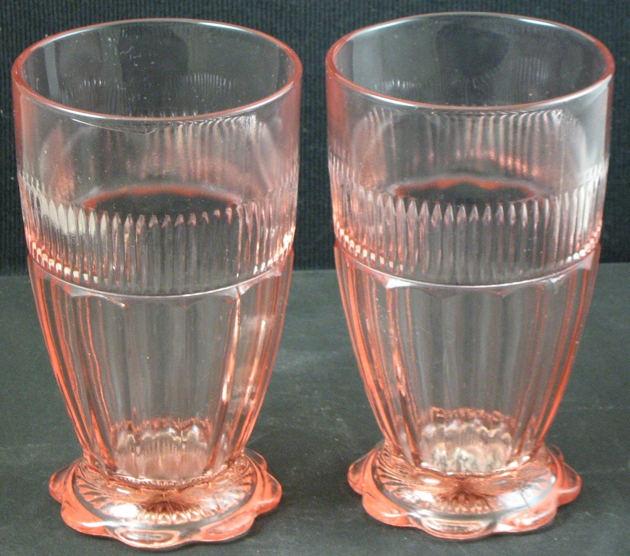 Lot of 2 Vintage Hocking Coronation Pink Depression Glass