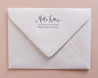 Calligraphy  Return Address Stamp with Modern Font