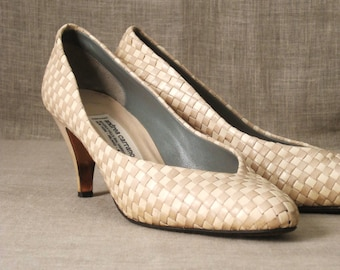 Shoes , Heels , Cream , Ladies Shoes , Woven Leather , High Heel Shoes ,  Andrea Carrano , Handmade , Italian Shoes , Designer Shoes