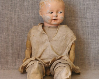 Antique German Cloth and Composite Doll, Sideways Glancing, Toys, European Dolls, Doll Parts, Head, Fabric Body, Scary, Male