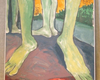 Vintage Surreal Art Painting, Feet, Body Parts, Anatomy, Contemporary Art, Original Fine Art, Steven Yee, Large Painting, Hand Painted