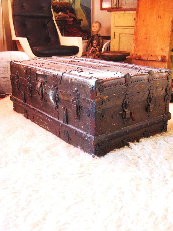 Antique Drucker Steamer Trunk Trunk Storage Luggage