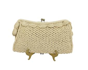 Vintage 70s 80s Raffia Clutch Handbag Mid Size Hippie Boho Purse Fashion 1970s 1980s Beige Ivory Straw Handbag