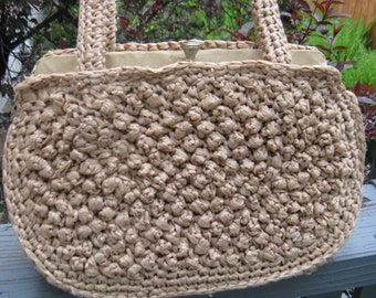 "Vintage 60s Natural Tan Raffia Straw ""Bubble"" Textured Purse, Made in Japan"