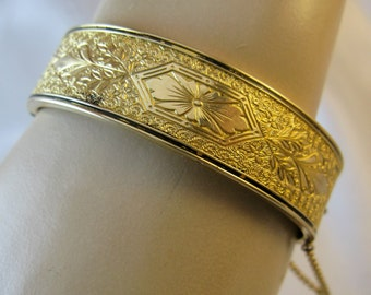 Antique Victorian Gold Filled Hinged Bangle Bracelet Hallmarked BB, FREE US Shipping