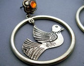 Silver Mexican Love Bird in a Hoop and Flower Post Earrings - Orange Swarovski Crystals