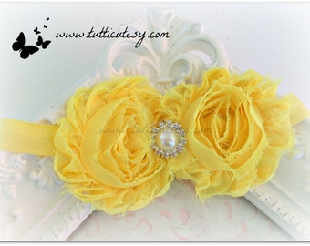 Yellow Shaaby Flower Headband