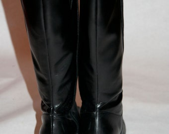 Vintage Black Leather Boots with Patent Detailing- Size 9 US Wide