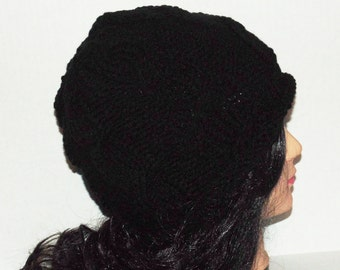 Black Beanie Knitted Hat, Cable Knit Hat, Braided Hat, Rolled Brim Hat